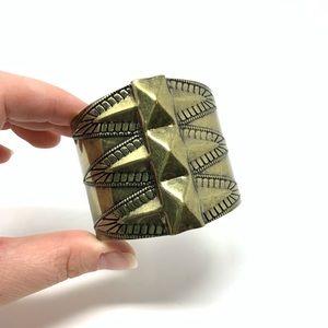 Native Tribal Gold Brass Boho Cuff Bracelet